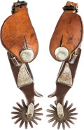 Western Expansion:Cowboy, Crockett Single-Mounted Aspen Leaf Spurs....