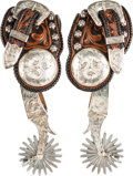 Western Expansion:Cowboy, Crockett Double-Mounted Spurs With Overlays by Heisman....