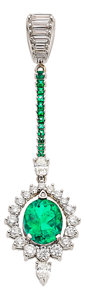 Estate Jewelry:Pendants and Lockets, Colombian Emerald, Diamond, White Gold Pendant. ...
