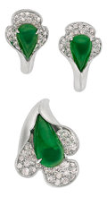 Estate Jewelry:Suites, Jadeite Jade, Diamond, White Gold Suite. ... (Total: 2 Items)