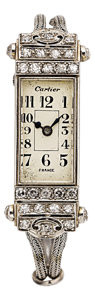 Estate Jewelry:Watches, Art Deco Cartier Diamond, Platinum, White Gold Wristwatch, France....