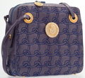 """Luxury Accessories:Accessories, Judith Leiber Purple Quilted Karung Tote Bag with Gold Hardware. Fair Condition. 8.5"""" Width x 9"""" Height x 2.5"""" Depth..."""