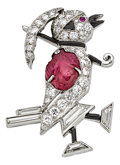 Estate Jewelry:Brooches - Pins, Art Deco Diamond, Ruby, Black Coral, Enamel, Platinum Brooch, OscarHeyman Bros.. ...