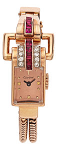 Estate Jewelry:Boxes, Retro Swiss Lady's Ruby, Diamond, Pink Gold Watch. ...