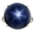 Estate Jewelry:Rings, Burma Star Sapphire, Diamond, White Gold Ring. ...