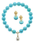 Estate Jewelry:Suites, Turquoise, Diamond, South Sea Cultured Pearl, Gold Jewelry Suite. ...