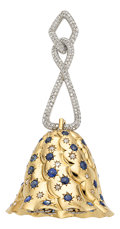 Estate Jewelry:Pendants and Lockets, Diamond, Sapphire, Platinum, Gold Pendant. ...