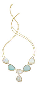 Estate Jewelry:Necklaces, Moonstone, Aquamarine, Diamond, Gold Necklace. ...
