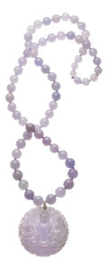 Estate Jewelry:Necklaces, Lavender Jade, Diamond, White Gold Necklace. ...