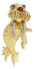 Estate Jewelry:Brooches - Pins, Diamond, Ruby, Sapphire, Gold Brooch, Hammerman Brothers. ...