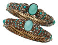 Estate Jewelry:Bracelets, Turquoise, Seed Pearl, Base Metal Bracelets. ...
