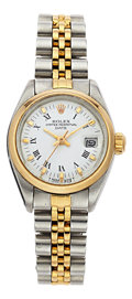 Estate Jewelry:Boxes, Rolex Lady's Gold, Stainless Steel Oyster Perpetual Date Watch. ...