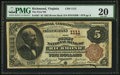 National Bank Notes:Virginia, Richmond, VA - $5 1882 Brown Back Fr. 467 The First NB Ch. # 1111....
