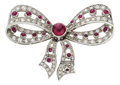 Estate Jewelry:Brooches - Pins, Ruby, Diamond, Platinum Brooch. ...