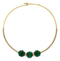 Estate Jewelry:Necklaces, Malachite, Diamond, Gold Necklace, Cartier. ...