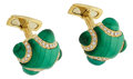 Estate Jewelry:Cufflinks, Malachite, Diamond, Gold Cuff Links, Andreoli. ...