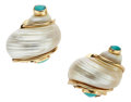 Estate Jewelry:Earrings, Shell, Turquoise, Gold Earrings, Seaman Schepps. ...