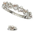 Estate Jewelry:Suites, Cultured Pearl, Diamond, White Gold Jewelry Suite. ...