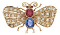 Estate Jewelry:Brooches - Pins, Multi-Stone, Diamond, Pink Gold Brooch. ...