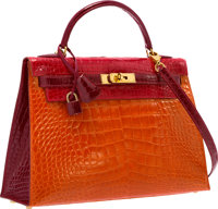 Hermes Special Order 32cm Shiny Braise, Orange H & Bordeaux Alligator Sellier Kelly Bag with Gold Hardware Very