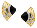 Estate Jewelry:Earrings, Diamond, Black Onyx, Platinum, Gold Earrings. ...