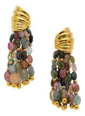 Estate Jewelry:Earrings, Tourmaline, Gold Earrings. ...