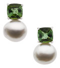 Estate Jewelry:Earrings, South Sea Cultured Pearl, Tourmaline, White Gold Earrings. ...