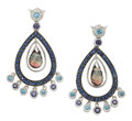 Estate Jewelry:Earrings, Multi-Stone, White Gold Earrings. ...