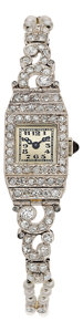 Estate Jewelry:Watches, Art Deco Swiss Lady's Diamond, Cultured Pearl, Platinum Watch . ...