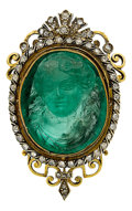 Estate Jewelry:Brooches - Pins, Antique Emerald Cameo, Diamond, Gold Brooch. ...