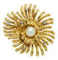 Estate Jewelry:Brooches - Pins, Cultured Pearl, Diamond, Gold Brooch, Tiffany & Co.. ...