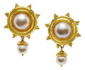 Estate Jewelry:Earrings, Mabe Pearl, Cultured Pearl, Gold Earrings, Elizabeth Locke. ...