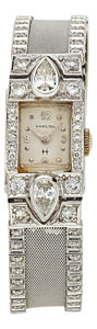 Estate Jewelry:Watches, Art Deco Hamilton Lady's Diamond, White Gold Watch. ...