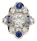 Estate Jewelry:Rings, Art Deco Diamond, Synthetic Sapphire, Platinum, Gold Ring. ...