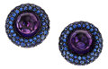 Estate Jewelry:Earrings, Amethyst, Sapphire, White Gold Earrings. ...