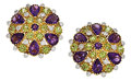 Estate Jewelry:Earrings, Amethyst, Peridot, Diamond, Gold Earrings. ...