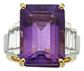 Estate Jewelry:Rings, Amethyst, Diamond, Platinum, Gold Ring. ...