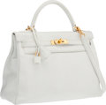 """Luxury Accessories:Bags, Hermes 32cm White Clemence Leather Retourne Kelly Bag with GoldHardware. Good to Very Good Condition. 12.5"""" Width x9..."""