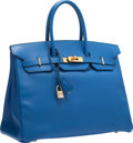 "Luxury Accessories:Bags, Hermes 35cm Blue France Courchevel Leather Birkin Bag with GoldHardware. Very Good to Excellent Condition. 14"" Width..."