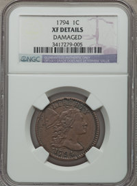1794 1C Head of 1794 -- Damaged -- NGC Details. XF. NGC Census: (0/0). PCGS Population (67/159). Numismedia Wsl. Price f...