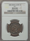 Large Cents, 1846 1C Small Date, N-1, R.1, MS64 Brown NGC. NGC Census: (4/0). PCGS Population (4/0). Mintage: 4,120,800. ...