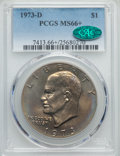 Eisenhower Dollars, 1973-D $1 MS66+ PCGS. CAC. PCGS Population (296/11). NGC Census: (69/2). Mintage: 2,000,000. Numismedia Wsl. Price for prob...
