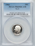 Proof Roosevelt Dimes, 1983 10C NO S PR69 Deep Cameo PCGS. PCGS Population (158/1). NGCCensus: (108/4). Numismedia Wsl. Price for problem free N...