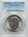 Eisenhower Dollars, 1971-D $1 MS66+ PCGS. PCGS Population (1001/21). NGC Census: (624/44). Mintage: 68,587,424. Numismedia Wsl. Price for probl...