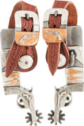 Western Expansion:Cowboy, Silver-Mounted Pistol-Shank Spurs by R. F. Ford....