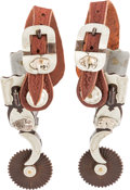 Western Expansion:Cowboy, Silver-Mounted Bison Spurs by R. F. Ford....