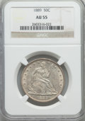 Seated Half Dollars: , 1889 50C AU55 NGC. NGC Census: (4/84). PCGS Population (10/124). Mintage: 12,000. Numismedia Wsl. Price for problem free NG...
