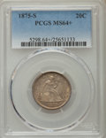 Twenty Cent Pieces: , 1875-S 20C MS64+ PCGS. PCGS Population: (472/277 and 19/19+). NGC Census: (418/254 and 11/4+). MS64. Mintage 1,155,000. ...