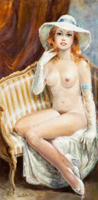 Americo Makk (American, b. 1927) Nude with Gloves and Hat Oil on canvas 47-1/2 x 24 inches (120.7