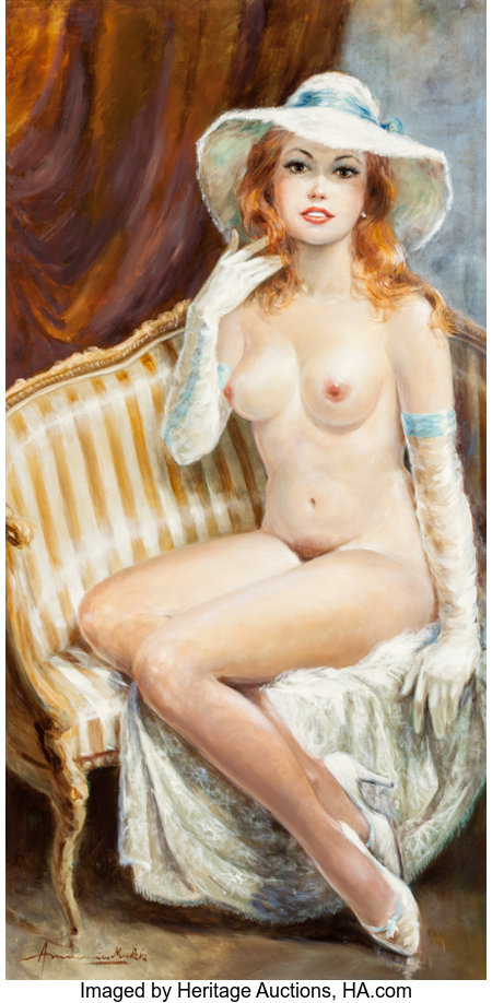Americo Makk (American, b. 1927)Nude with Gloves and HatOil on canvas47-1/2 x 24 inches (120.7 x 61.0 cm)Signed ...